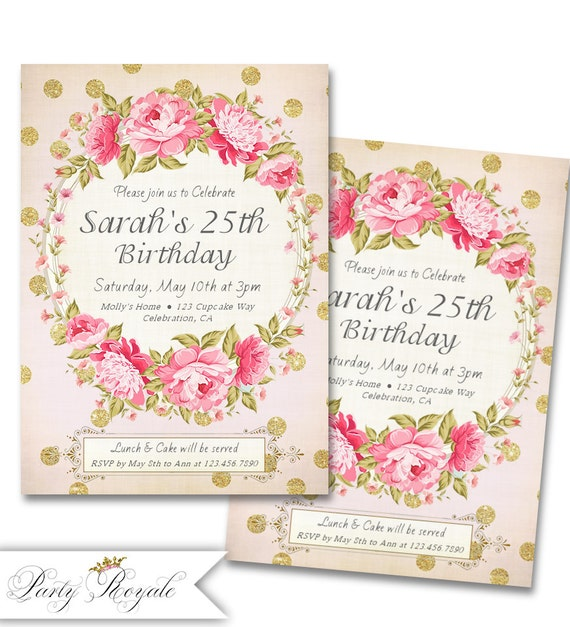 adult birthday invitations for her 25th birthday party, Birthday invitations
