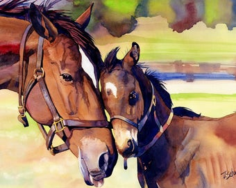 Mama Beside Me - Watercolor Giclee by John Schooley