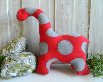 Large plush red and gray stuffed dinosaur, brontosaurus plush, dinosaur stuffed animal, gift for girls, gift for boys