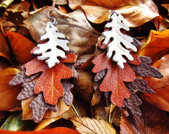 Oak Leaf Earrings, Leather Leaf Earrings, Hand Tooled Leather Jewelry