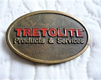 Old Tretolite Belt Buckle ...  Mens Enamel & Metal Advertising Fashion Collectible .. Memorabilia