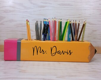 Teacher Sign, Teacher Appreciation Gift, Personalized Gift, Teacher Pencil Sign, Decor, Classroom Decoration, organizer, Teacher Gift