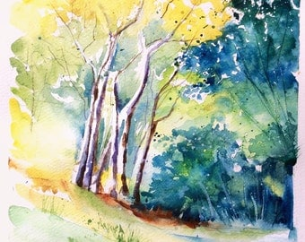 """Original watercolor - Free shipping """"Forest light"""" (landscape forest green leaves tree bird season hiking freshness)"""
