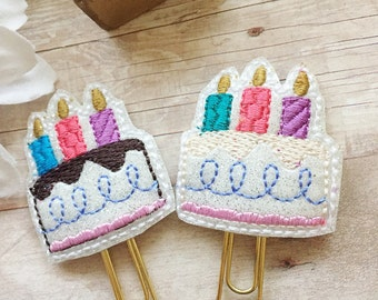 Happy Birthday Cake Planner Clip - Chocolate or Vanila - Birth Month - Planner Accessories - Bookmark - Birthday Gift - Small Gift