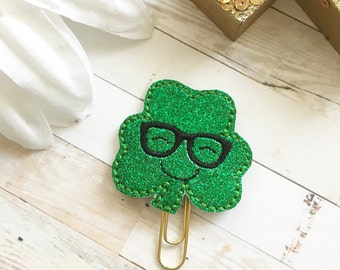 Geeky Hipster Shamrock Planner Clip - Green Glam Glitter - Claddaugh - Irish Clover - St. Patrick's Day - Planner Accessories - Small Gift
