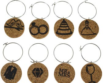 Wedding Themed Cork Wine Glass Charms- Set of 8 - Designs Including a Dress, Tux, Rings, Diamond, Mr and Mrs, etc - Cork Tags to Mark Drinks