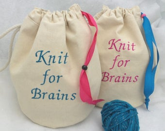 Personalized Project Bag, Canvas Knitting Project Bag, Crochet Project Bag, Drawstring Project Bag