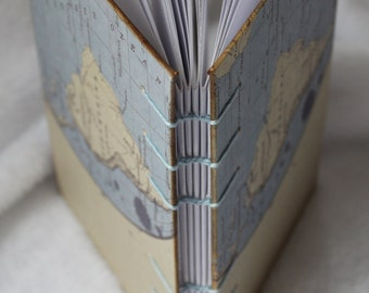 COPTIC Blue Brown stich journal Bullet Journal Notebook, Coptic Stitch Planner, Pocket Journal, Food Diary,Torn Edge World map