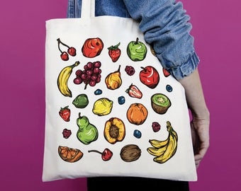 Tote Bag Fruits, totebag, sac coton, sac de toile, sac de plage, sac à main, 5 fruits et légumes par jour