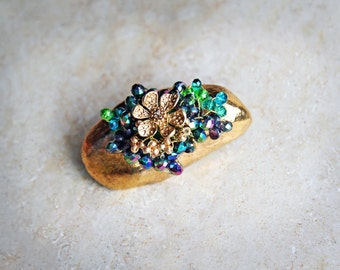 Golden brooch made of porcelain, with gemstone, Gold Flower glass beads. Gift for her!