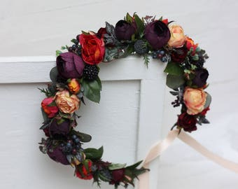 Dark purple orange peach eucalyptus flower crown Woodland wedding Floral hair wreath Bridal headpiece Flower halo
