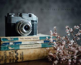 Retro Camera Photo - Still Life Photo of Film Camera and Old Books, Fine Art Photograph, Vintage Camera Photography, 10x8, 14x11 photograph
