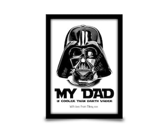 Personalised birthday gift for Dad, Daddy or Father. Star wars inspired gift. Fathers day gift idea. A4 gloss print personalised with name.