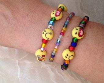 Beaded bracelets, emoji bracelets, set of 3 emoji beaded bracelets