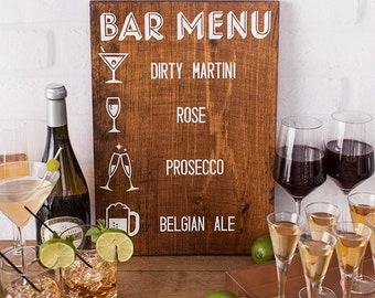 Wedding Bar Menu Vinyl