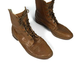Vintage Womens Leather Boots Ankle Boots Lace Up Boots Luggage Short Boots Brown Leather Boots Retro Boots Short Vtg Lace Up Boots Size 7