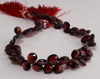 Red Garnet Faceted Heart Briolettes- 7mm-20 Beads- GR8401