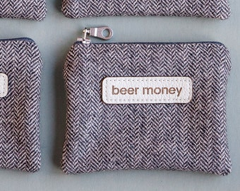 Fabric Beer Money Coin Pouch - Man Wallet - Gift For Dad - Beer Gifts - Beer Lover - Craft Beer