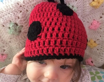 Ladybug Infant Hat! Crotchet Red and Black Winter Hat! Size 6 to 12 month