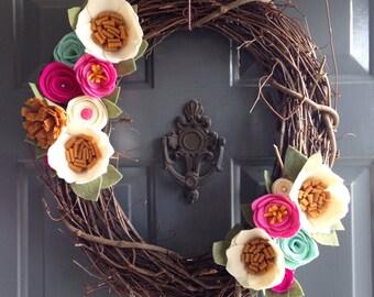 Felt flower wreath • Grapevine wreath • modern wreath• wreath