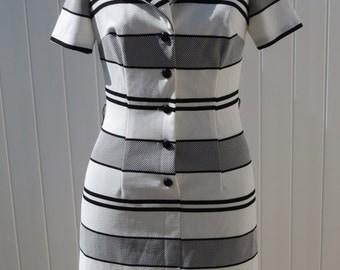 1970s Black and White dress/ 1970s dress/ vintage dress