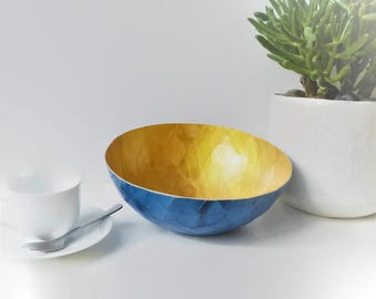 Bowl gold and blue, recycled kraft paper