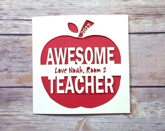 Personalised Teacher Appreciation Card, Thank You Card, Teacher Gift, End of Term Gift, Handmade, Teaching Assistant, Kindergarten, School