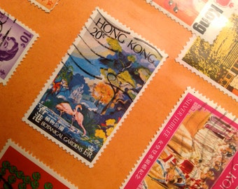 Vintage Hong Kong, Macao and Japanese Postage Stamps - 1970s