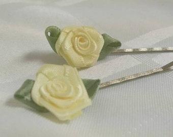 Yellow Satin Fabric Ribbon Rose Bobby Pin Hair Pin Set of 2 #B003