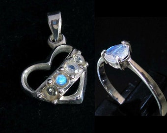 Silver Heart Pendant & Ring with blue Moonstone gemstones Valentine's jewelry gift set