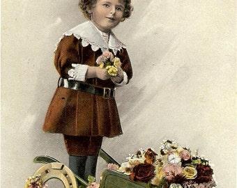 Child collecting Flowers - 1910s Antique Postcard - Carte Postale - Paper Ephemera - Used