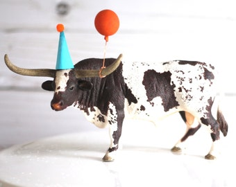 Party Animal Cake Topper  Longhorn Western Rustic Birthday Texas