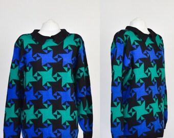 VINTAGE 80s geometric super soft blue/green/black jumper/sweater with collar, medium