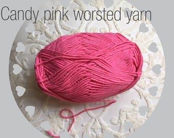 Worsted candy pink yarn. Candy pink yarn supply. Bright pink yarn. Crochet/knitting yarn. Craft yarn supply. Cotton/acrylic blend yarn. Soft