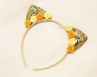 sequin ear cat, sequin cat ears, sequin headband, ears cat headband, ears animal headband, cat costume,
