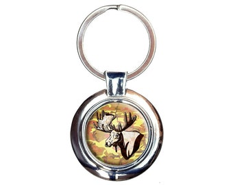 Moose Head Bust Keychain Key Ring