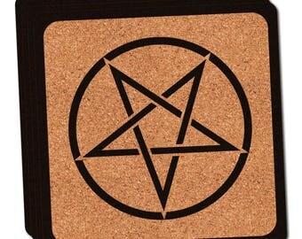 Pentagram Thin Cork Coaster Set Of 4