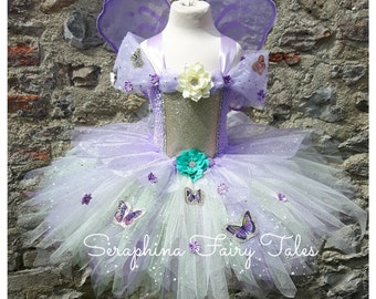 Fairy Dress in Mint, Lilac & Ivory with Glitter on a Lined Top with Butterflies. Optional Wings. Handmade  by Seraphina Fairy Tales