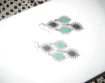 Black/Turquoise/Silver Colored Pierced Dangle Earrings