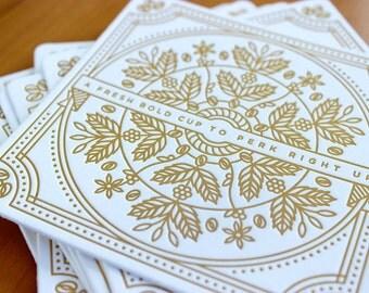 Illustrated Coffee Letterpress Coasters (4)