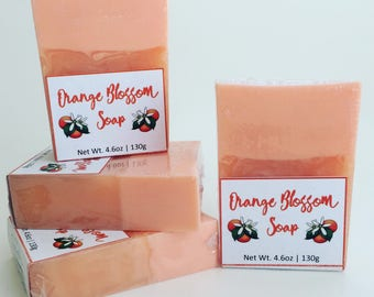 Orange Blossom Soap, Handmade Soap, Handcrafted Soap, Artisan Soap, Glycerin Soap, Orange Soap, Gifts for Her, Wedding Favors, Party Favors