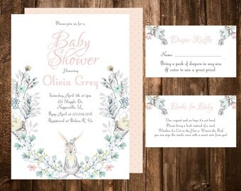 Bunny Baby Shower Invitation Printable, Printable Pink Girl Baby Shower Invitation, Floral Wreath Invite, Rabbit Baby Shower Invitation