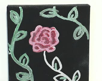 Simple rose on mini canvas
