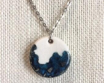Blue Lace Impression Porcelain Ceramic Pendant Necklace