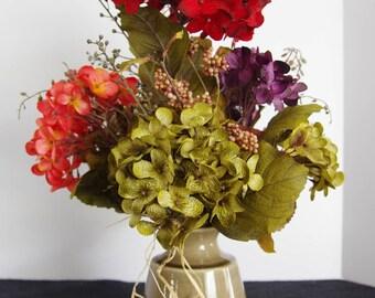 Silk Arrangement of Hydrangeas in Tan Ceramic Vase