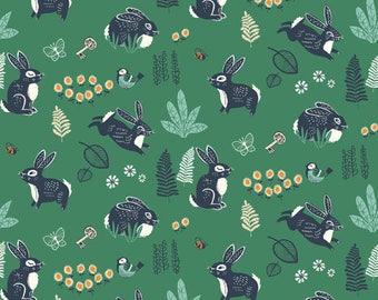 Bunny Hop Green - Hidden Garden - Birch Fabrics - Organic Cotton - Poplin by the Yard