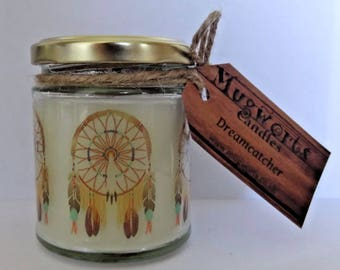 Dreamcatcher Design, Scented Jar Candle gift, Fairy, Pagan, Wicca, Soy wax, Christmas, Holidays, Magic, Gift, Yule, Easter