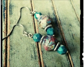 Bohemian Earrings - English Cut Picasso and Teal Moon-Dust Czech Beads//Silver Accents//Dangle Earrings//Earthy Hues - Gift for Her