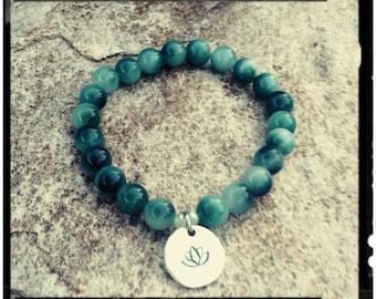 Jade Mala - Bracelet//Natural Jade Stone//Caribbean Green Jade - Hand Stamped Lotus Charm - Yoga//Meditation//Gift