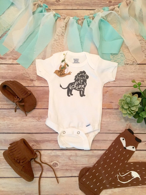 Heart of a Lion esie Boho Baby Clothes Baby Boy Romper